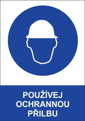 Bezpečnostní tabulka - Používej ochrannou přilbu 9b073b79e6